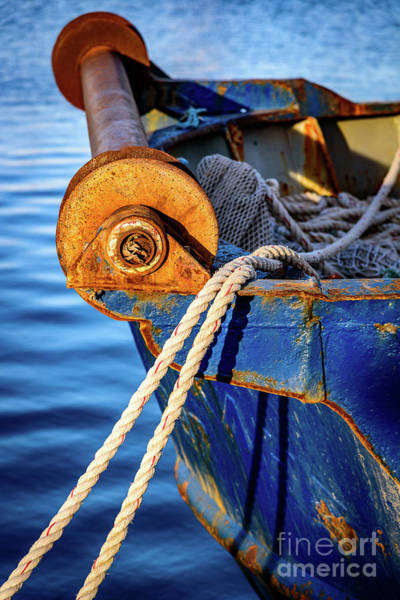 Photograph - Closeup Of Blue Rusting Fishing Boat In Rhodes, Greece by Global Light Photography - Nicole Leffer