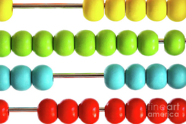 Kindergarten Photograph - Closeup Of Bright  Abacus Beads On White by Sandra Cunningham