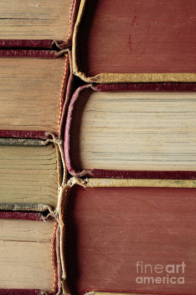 Photograph - Closeup Of Old Books by Edward Fielding