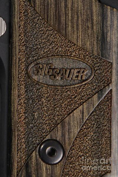Ammo Photograph - Closeup Of Sig Sauer Pistol Grip by Jt PhotoDesign