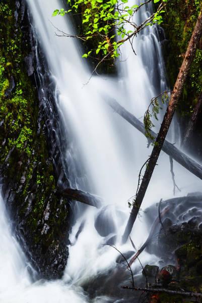 Triple Falls Photograph - Closeup Of Triple Falls In Columbia River Gorge Oregon by Vishwanath Bhat