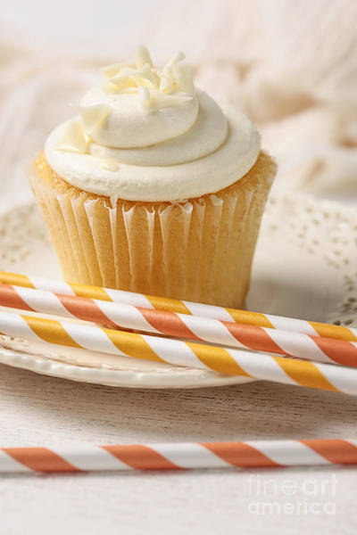 Photograph - Closeup Of Vanilla Cupcake With Straws by Sandra Cunningham
