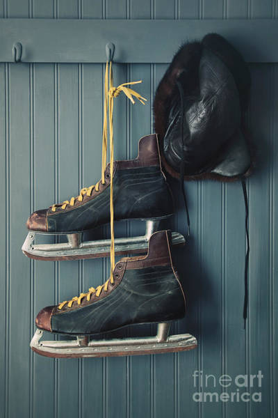 Photograph - Closeup Of Vintage Men's Skates And Hat On Hooks by Sandra Cunningham