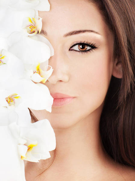 Beauty Salon Photograph - Closeup On Beautiful Face With Flowers by Anna Om