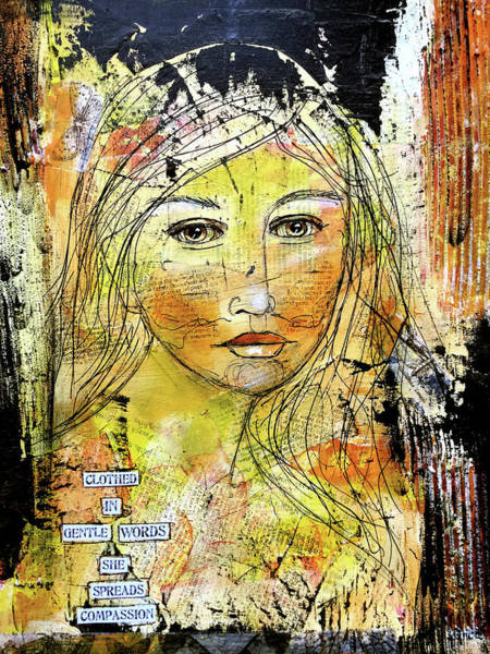 Compassion Wall Art - Mixed Media - Clothed In Gentle Words by Lynn Colwell