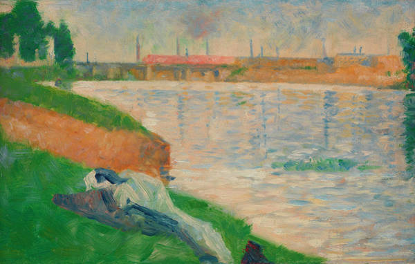 Waterway Painting - Clothes On The Grass by Georges Seurat