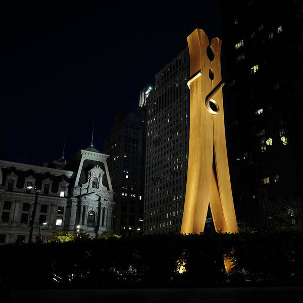 Photograph - Clothespin At Night - Philadelphia by Rona Black