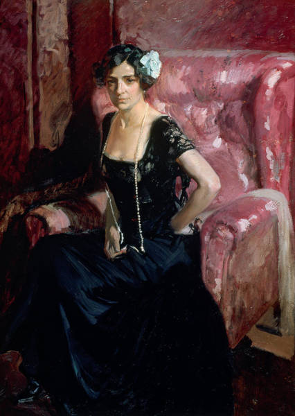 Latino Painting - Clotilde In An Evening Dress by Joaquin Sorolla y Bastida