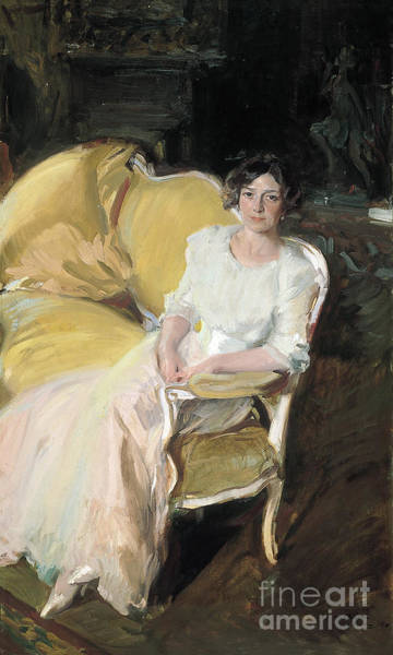 Painting - Clotilde Seated On A Sofa by Celestial Images