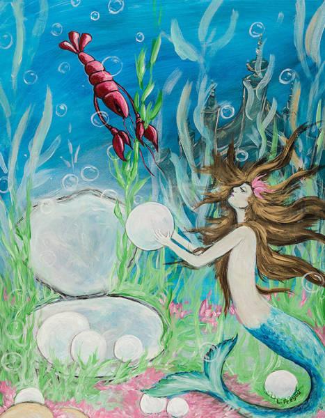 Craw Wall Art - Painting - Clotiles Mermaid Encounter by Lerin Freyou