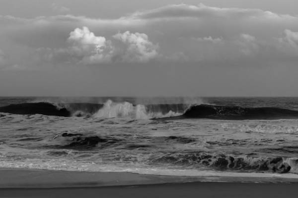 Photograph - Cloud And Wave Black And White Seaside New Jersey  by Terry DeLuco