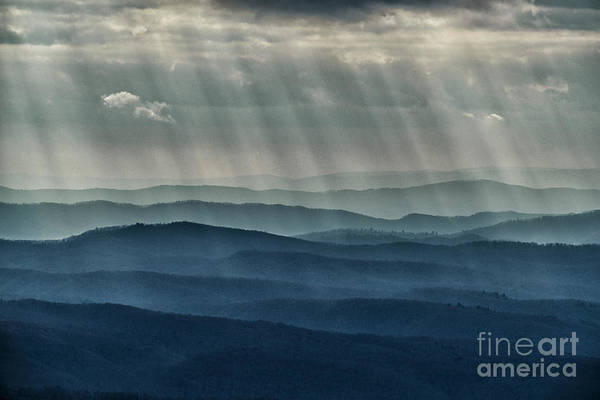 Photograph - Cloud Filtered Sunlight Rays Ridges by Thomas R Fletcher