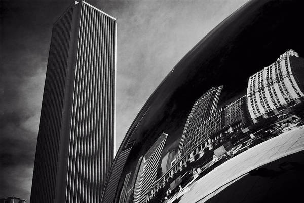 Photograph - Cloud Gate And Aon Center Black And White by Roger Passman