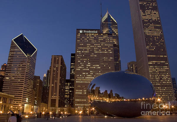 Sears Tower Photograph - Cloud Gate At Night by Timothy Johnson