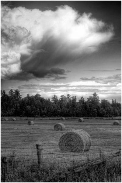 Photograph - Cloud Over Hayrolls by Wayne King