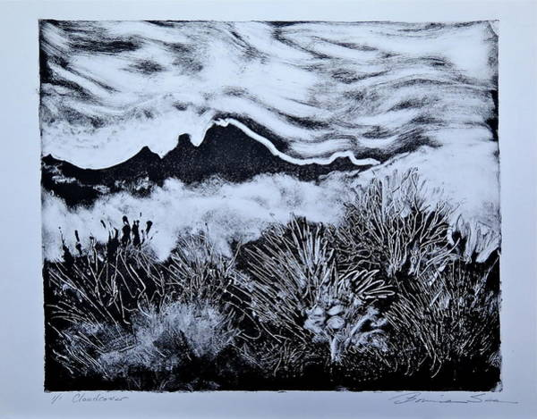 Monotype Mixed Media - Cloudcover by Bonnie See