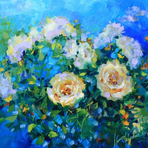 Medina Wall Art - Painting - Cloudless Sky White Roses by Nancy Medina