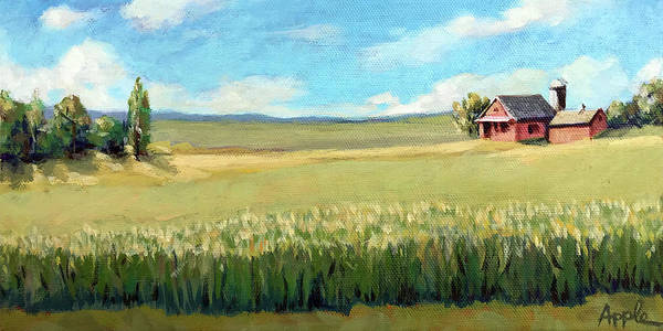 Wall Art - Painting - Clouds And Corn by Linda Apple