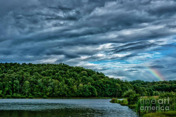 Photograph - Clouds And Rainbow Over Lake by Thomas R Fletcher