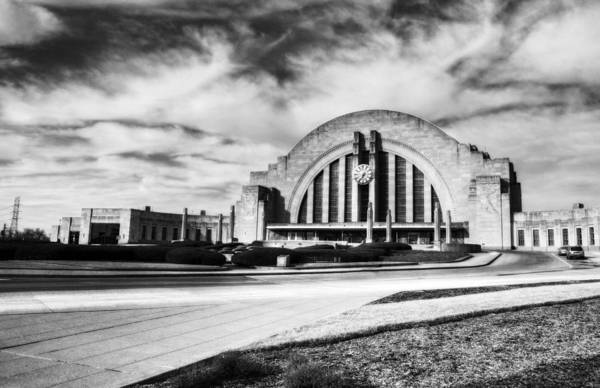 Photograph - Clouds At Cincinnati's Union Terminal Bw by Mel Steinhauer