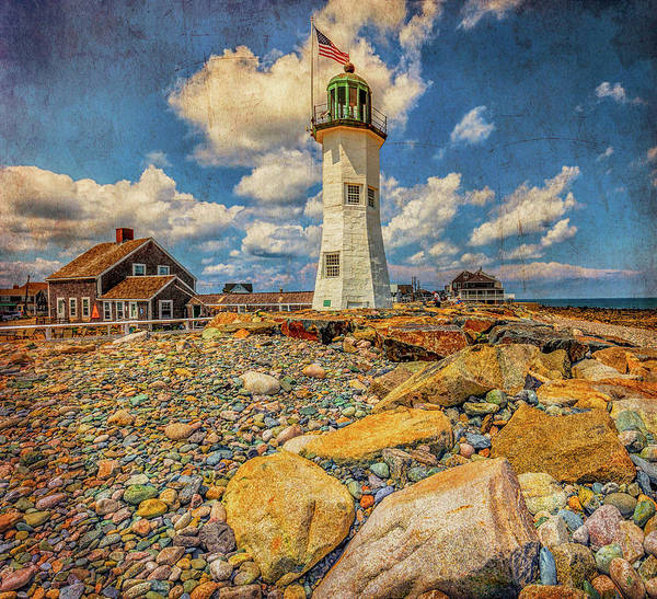Photograph - Clouds At Scituate Lighthouse With Texture by Brian MacLean