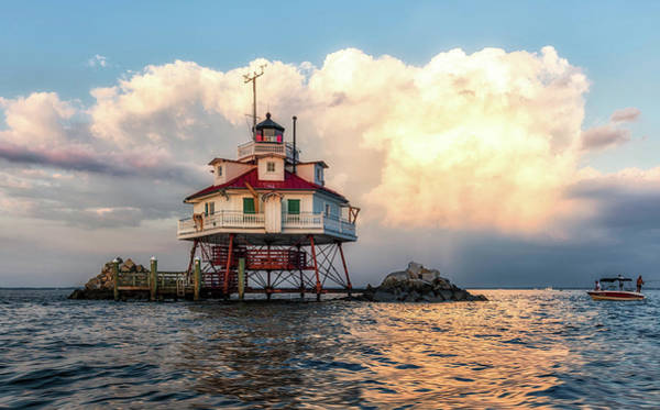 Screw Pile Wall Art - Photograph - Clouds Behind Thomas Point Shoal Lighthouse by Carol Ward