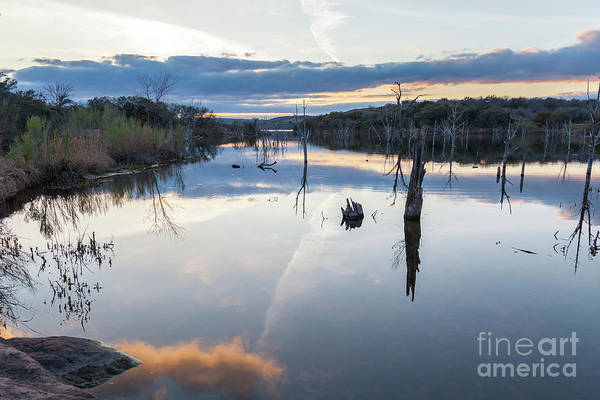 Clouds Reflecting On Large Lake During Sunset Art Print
