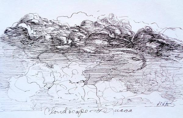 Drawing - Cloudscape  - Lucca Sketch by VIVA Anderson