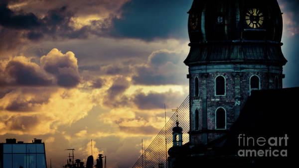 Photograph - Cloudscape Of Orange Sunset Artmif Riga Latvia by Raimond Klavins