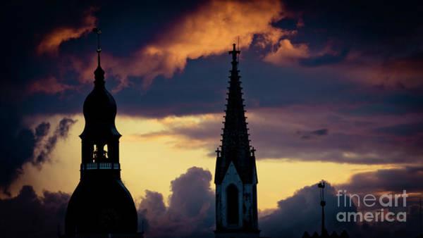 Photograph - Cloudscape Of Orange Sunset Artmif.lv Riga Latvia by Raimond Klavins
