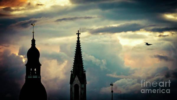 Photograph - Cloudscape Sunset Old Town Riga Latvia by Raimond Klavins
