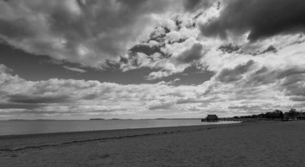 Photograph - Cloudy Beach Day Black And White by Brian MacLean
