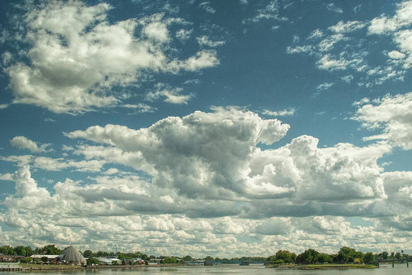 Photograph - Cloudy Blue Skies Over The St. Clair River In Port Huron Michigan by Randall Nyhof