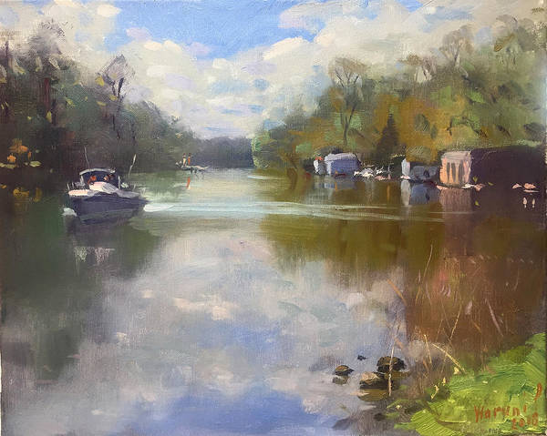 Lake House Painting - Cloudy Day At Mayors Park by Ylli Haruni