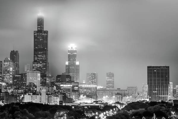 Photograph - Cloudy Downtown Chicago Skyline In Black And White by Gregory Ballos
