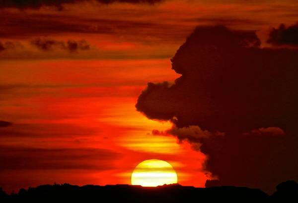 Disappearance Photograph - Cloudy Fire Sunset  by Joe Wyman