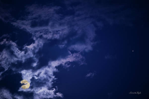 Photograph - Cloudy Moon With Jupiter by Karen Slagle