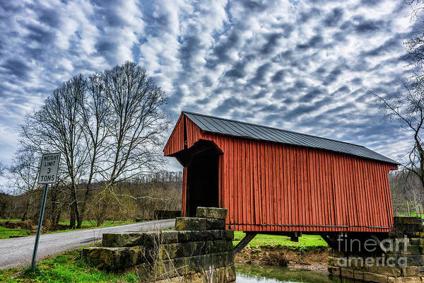 Photograph - Cloudy Sky And Covered Bridge by Thomas R Fletcher