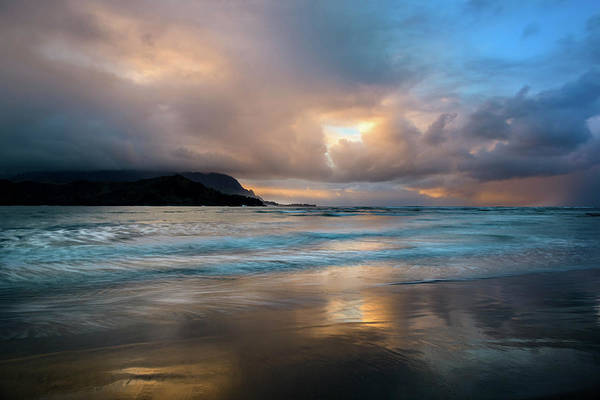 Photograph - Cloudy Sunset At Hanalei Bay by John Hight