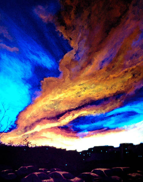 Blacklight Painting - Cloudy With A Chance Of Sunset by John Prehart