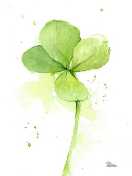 Lucky Charm Painting - Clover Watercolor by Olga Shvartsur