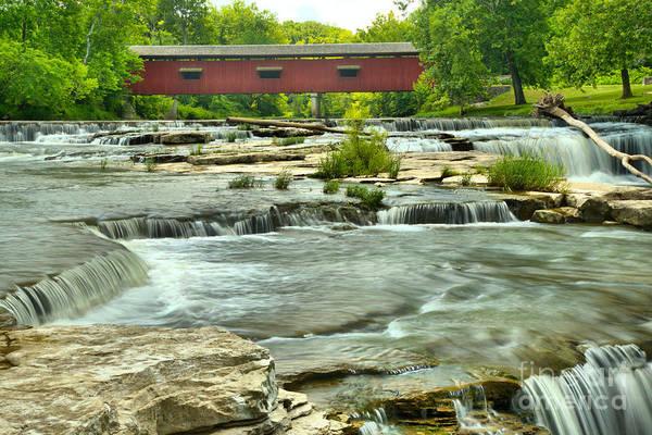 Photograph - Cloverdale Indiana Covered Bridge Scene by Adam Jewell