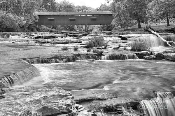 Photograph - Cloverdale Indiana Covered Bridge Scene Black And White by Adam Jewell