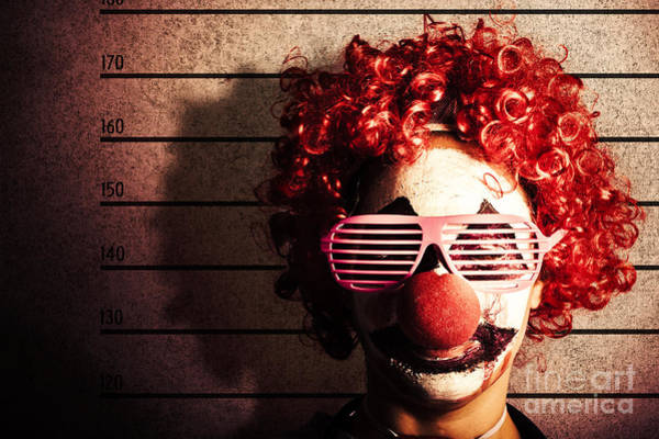 Mugshot Wall Art - Photograph - Clown Criminal Mug Shot Photo Id On Police Lines by Jorgo Photography - Wall Art Gallery