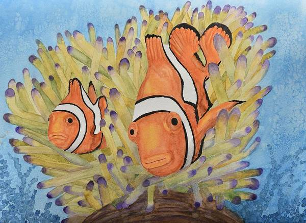 Clownfish Painting - Clownfish by Linda Brody