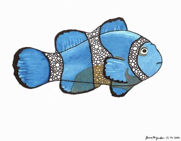 Clownfish Painting - Clowning Around Blue by Laura McLendon