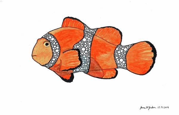 Clownfish Painting - Clowning Around Orange by Laura McLendon