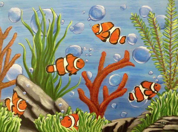 Clownfish Painting - Clowning Around by Teresa Wing