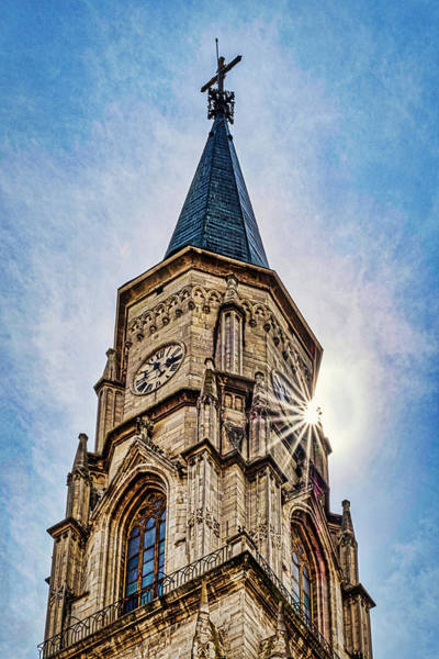 Photograph -  Cluj-napoca Cathedral Sunstar - Romania by Stuart Litoff