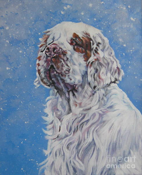 Wall Art - Painting - Clumber Spaniel In Snow by Lee Ann Shepard